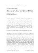 Histories of Labour and Labour History