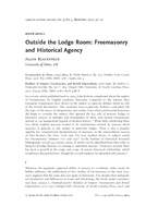 Outside the Lodge Room: Freemasonry and Historical Agency