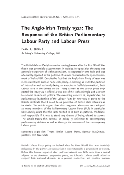 The Anglo-Irish Treaty 1921: The Response of the British Parliamentary Labour Party and Labour Press