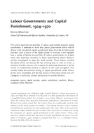 Labour Governments and Capital Punishment, 1924–1970