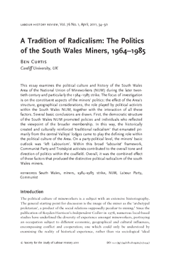 A Tradition of Radicalism: The Politics of the South Wales Miners, 1964–1985