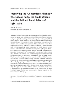 Preserving the 'Contentious Alliance'? The Labour Party, the Trade Unions, and the Political Fund Ballots of 1985–1986