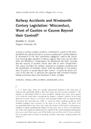 Railway Accidents and NineteenthCentury Legislation: 'Misconduct, Want of Caution or Causes Beyond their Control?'