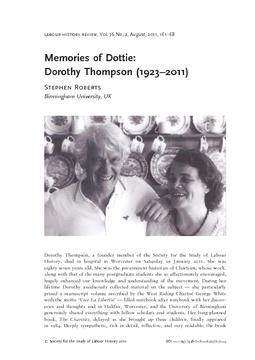 Memories of Dottie: Dorothy Thompson (1923–2011)
