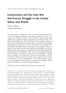 Communists and the Inter-War Anti-Fascist Struggle in the United States and Britain