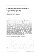 Craftsmen and Skilled Workers in Engineering, 1914–64