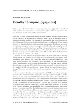 Dorothy Thompson (1923–2011)