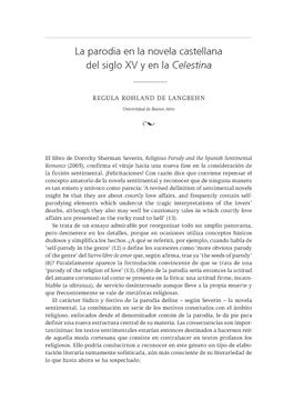 La parodia en la novela castellana del siglo XV y en la Celestina