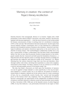 Memory in creation: the context of Rojas's literary recollection