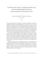 La Princesa de Salerno y algunas damas de la corte del Adelantado de Murcia. La obra poética de Acevedo en LB1