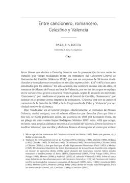 Entre cancionero, romancero, Celestina y Valencia