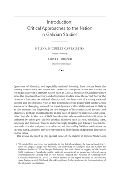 Introduction: Critical Approaches to the Nation in Galician Studies