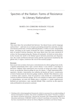 Spectres of the Nation: Forms of Resistance to Literary Nationalism