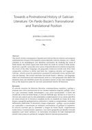 Towards a Postnational History of Galician Literature: On Pardo Bazán's Transnational and Translational Position