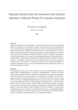 Popular Literary lieux de mémoire and Galician Identity in Manuel Rivas's En salvaxe compaña