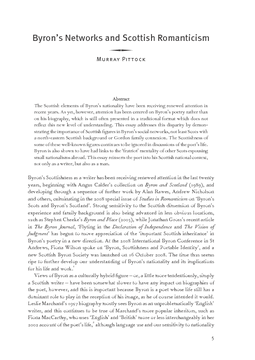 Byron's Networks and Scottish Romanticism