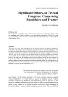Significant Others, or Textual Congress: Concerning Baudelaire and Tranter