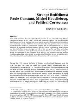 Strange Bedfellows: Paule Constant, Michel Houellebecq, and Political Correctness