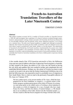 French-to-Australian Translation: Travellers of the Later Nineteenth Century