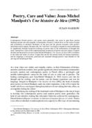 Poetry, Care and Value: Jean-Michel Maulpoix's Une histoire de bleu (1992)