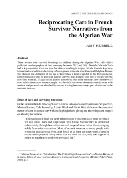 Reciprocating Care in French Survivor Narratives from the Algerian War