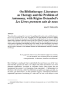 On Bibliotherapy: Literature as Therapy and the Problem of Autonomy, with Régine Detambel's Les Livres prennent soin de nous