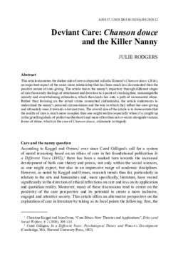 Deviant Care: Chanson douce and the Killer Nanny