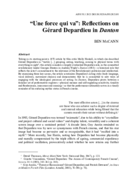 """Une force qui va"": Reflections on Gérard Depardieu in Danton"