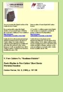 POETIC RHYTHM IN PERE CALDERS' SHORT STORIES