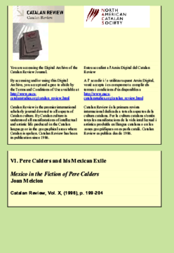 MEXICO IN THE FICTION OF PERE CALDERS