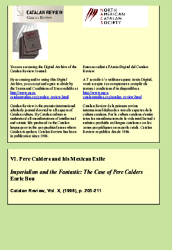 IMPERIALISM AND THE FANTASTIC: THE CASE OF PERE CALDERS