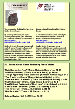 III. TRANSLATIONS: SHORT STORIES BY PERE CALDERS