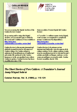 THE SHORT STORIES OF PERE CALDERS: A TRANSLATOR'S JOURNAL