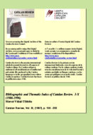 BIBLIOGRAPHIC AND THEMATIC INDEX OF CATALAN REVIEW