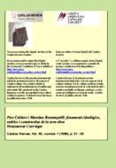 PERE CALDERS I MASSIMO BONTEMPELLI: FONAMENTS IDEOLÒGICS, ESTÈTICS I CONSTRUCTIUS DE LA SEVA OBRA1