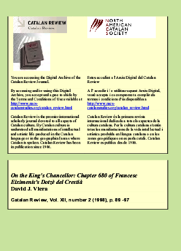 ON THE KING'S CHANCELLOR: CHAPTER 680 OF FRANCESC EIXIMENIS'S DOTZÈ DEL CRESTIÀ