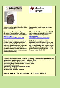 CULTURAL INFORMATION FROM CATALAN-SPEAKING LANDS 1998 (II) AND 1999 (I)
