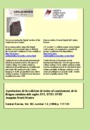 APORTACIONS DE LES EDICIONS DE TEXTOS AL CONEIXEMENT DE LA LLENGUA CATALANA DELS SEGLES xvi, xvii I xviii
