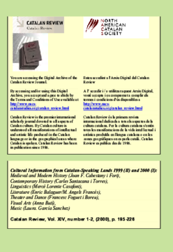 CULTURAL INFORMATION FROM CATALAN-SPEAKING LANDS 1999 (II) AND 2000 (I)