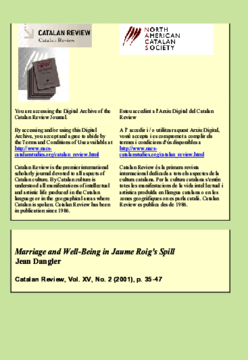 """""""MARRIAGE AND WELL-BEING IN JAUME ROIG'S SPILL"""""""