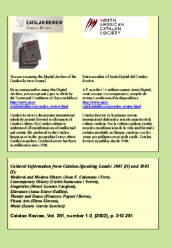 CULTURAL INFORMATION FROM CATALAN-SPEAKING LANDS 2001 (II) AND 2002 (I)