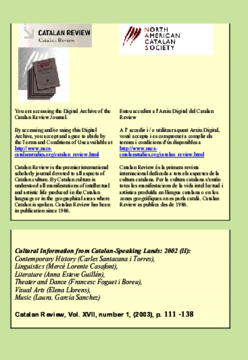CULTURAL INFORMATION FROM CATALAN-SPEAKING LANDS 2002 (II)