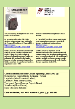 CULTURAL INFORMATION FROM CATALAN-SPEAKING LANDS 2003 (I)