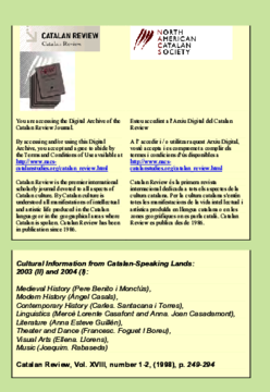 CULTURAL INFORMATION FROM CATALAN-SPEAKING LANDS 2003 (II) AND 2004 (I)