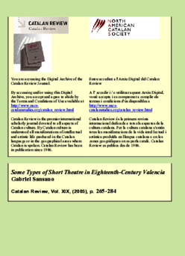 SOME TYPES OF SHORT THEATRE IN EIGHTEENTH-CENTURY VALENCIA