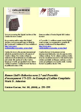 RAMON LLULL'S RETHORICA NOVA 2.7 AND PROVERBIS D'ENSENYAMENT 175-225: AN EXAMPLE OF LULLIAN COMPILATIO