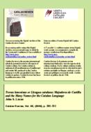 TROVAS LEMOSINAS OR LLENGUA CATALANA: MAJADEROS DE CASTILLA AND THE MANY NAMES FOR THE CATALAN LANGUAGE