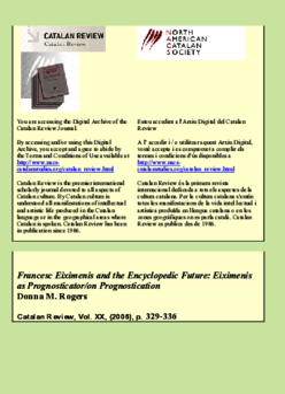 FRANCESC EIXIMENIS AND THE ENCYCLOPEDIC FUTURE: EIXIMENIS AS PROGNOSTICATOR/ON PROGNOSTICATION