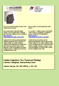 CATALAN LINGUISTICS: NEW TRENDS AND FINDINGS