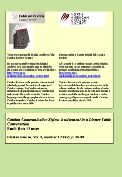 CATALAN COMMUNICATIVE STYLES: INVOLVEMENT IN A DINNER TABLE CONVERSATION